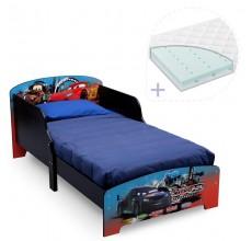 Set pat cu cadru din lemn Lightning McQueen si saltea pentru patut Dreamily - 140 x 70 x 10 cm
