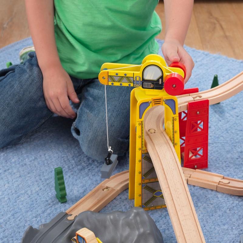 Trenulet din lemn Super Highway cu set de accesorii