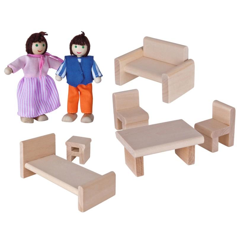 Casuta din lemn cu mobilier si papusi Eichhorn