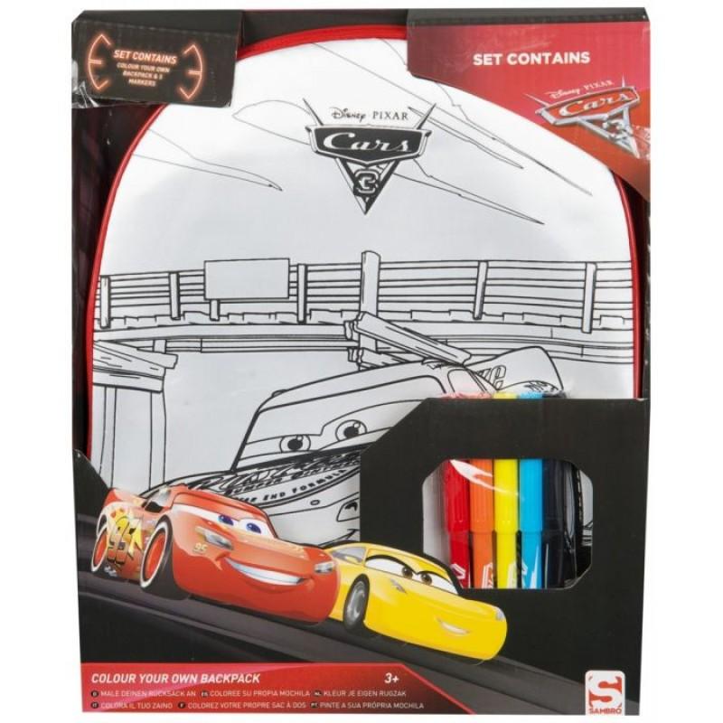 Ghiozdan tip rucsac gradinita Cars Disney (de colorat)