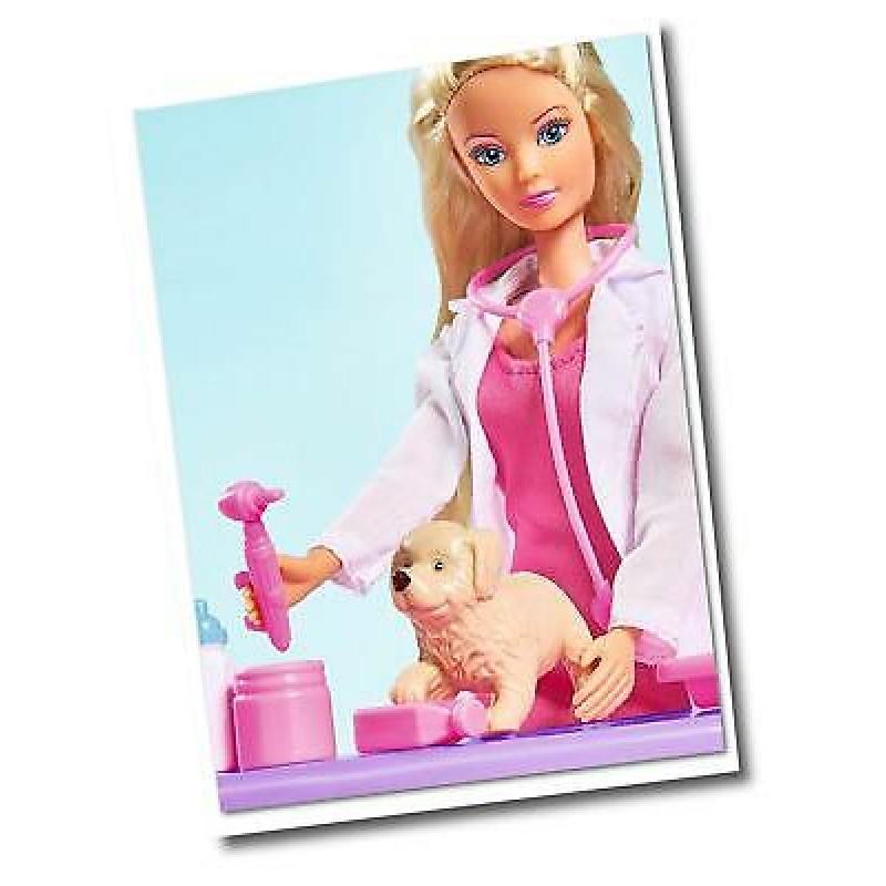 Papusa Bannie - Doctor veterinar cu catel si accesorii