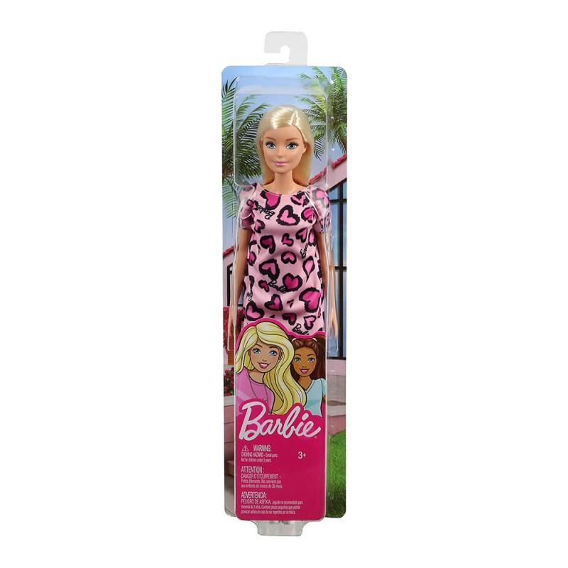 Papusa Barbie blonda in rochita cu inimioare