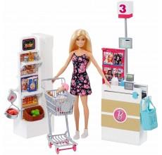 Papusa Barbie la Supermarket cu 25 accesorii