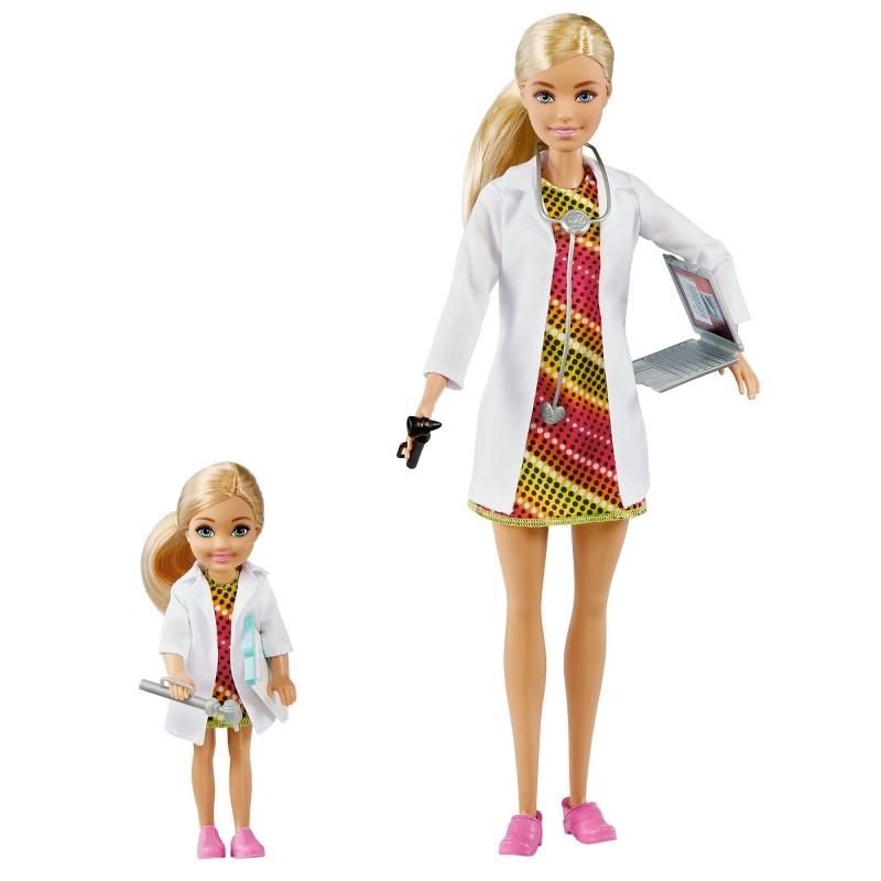 Papusa Barbie si Chelsea cu 3 seturi costume (cantareata, doctora, tenismena)