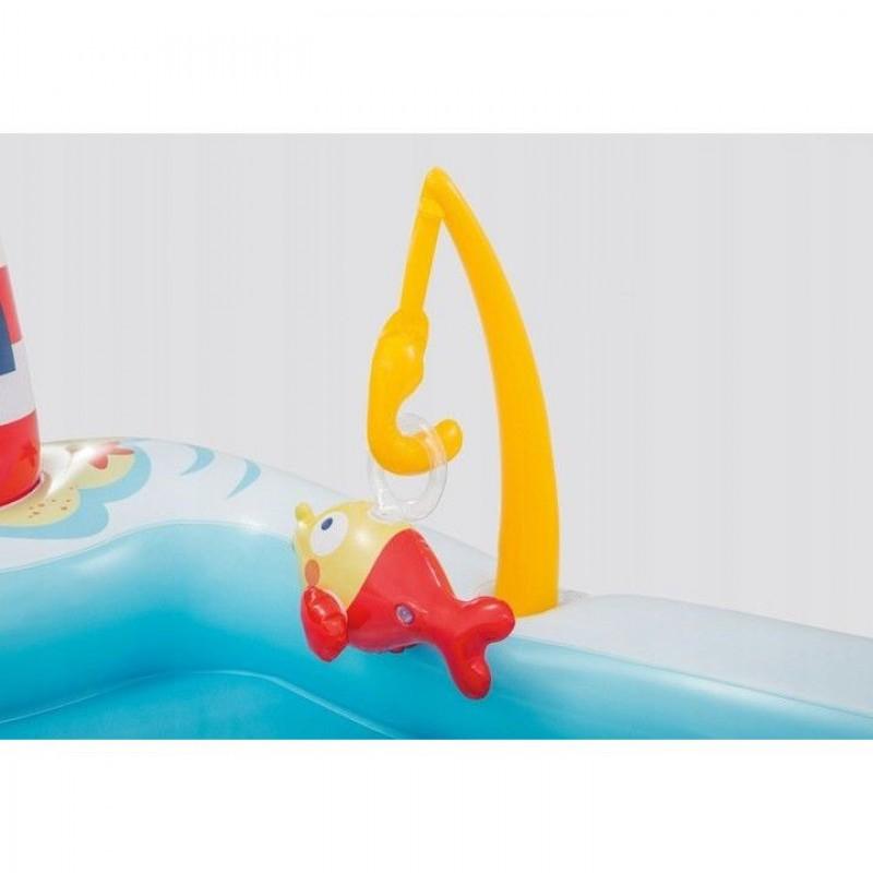 Piscina gonflabila Barca de pescuit cu tobogan, accesorii si pulverizator apa