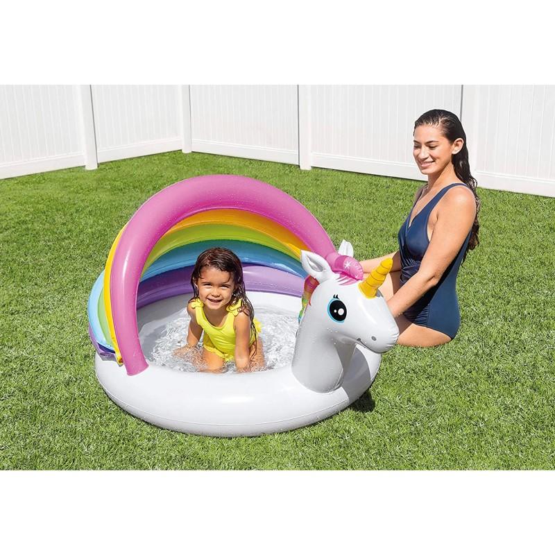 Piscina gonflabila Unicorn cu acoperis protectie soare