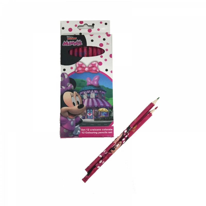 Set 12 creioane colorate Minnie Mouse Disney