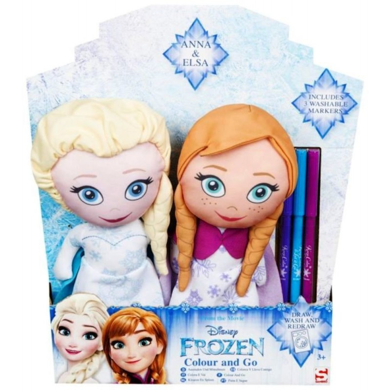 Set 2 papusi Frozen Disney din plus de colorat