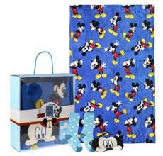 Set cadou Mickey Mouse Disney - paturica, sosete si masca pentru ochi