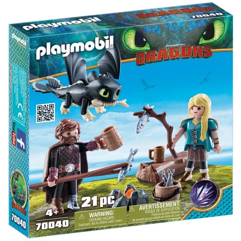 Set de joaca Playmobil - Hiccup, Astrid si pui de dragon