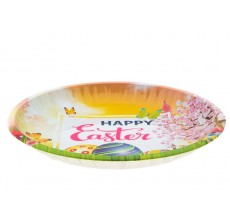 Farfurie metalica Happy Easter