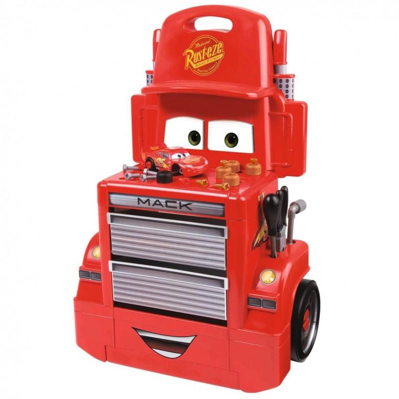 Banc de lucru Mack cu 28 de accesorii si masinuta Cars Fulger McQueen