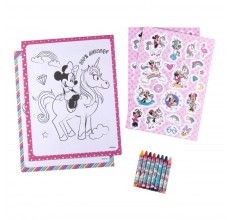 Bloc de colorat Minnie Mouse Disney + creioane cerate + stickere