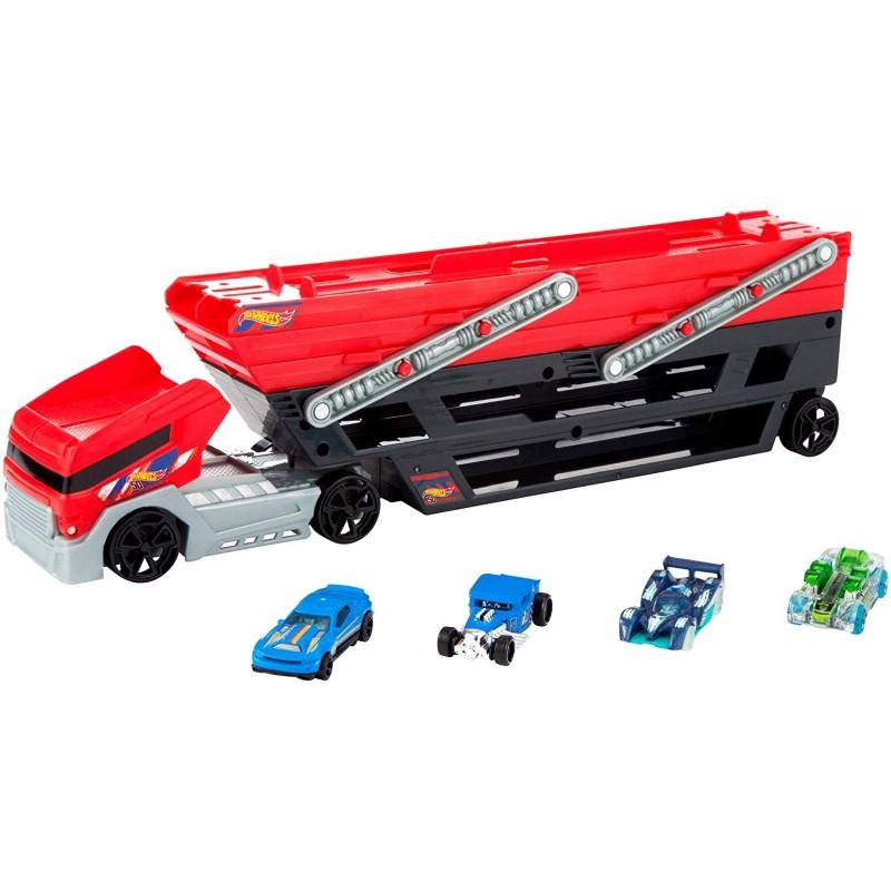 MEGA camionul de transport masinute Hot Wheels cu 4 masinute incluse
