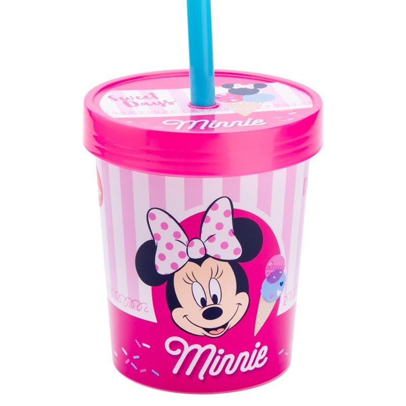 Pahar Minnie Mouse Disney cu capac si pai din plastic