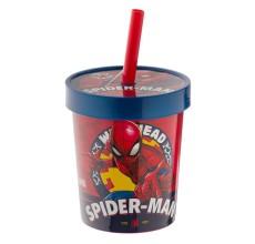 Pahar Spiderman cu capac si pai din plastic