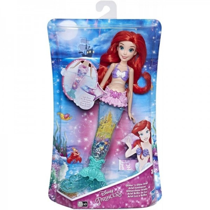 Papusa Ariel Disney - Sirena cu coada luminoasa