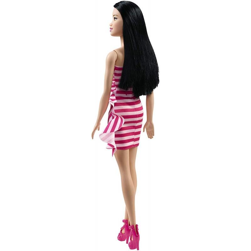 Papusa Barbie bruneta in rochita cu dungi