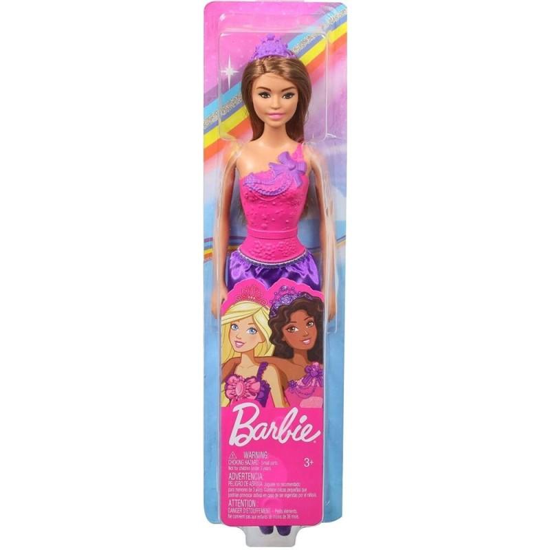 Papusa Barbie bruneta - Printesa cu rochita mov