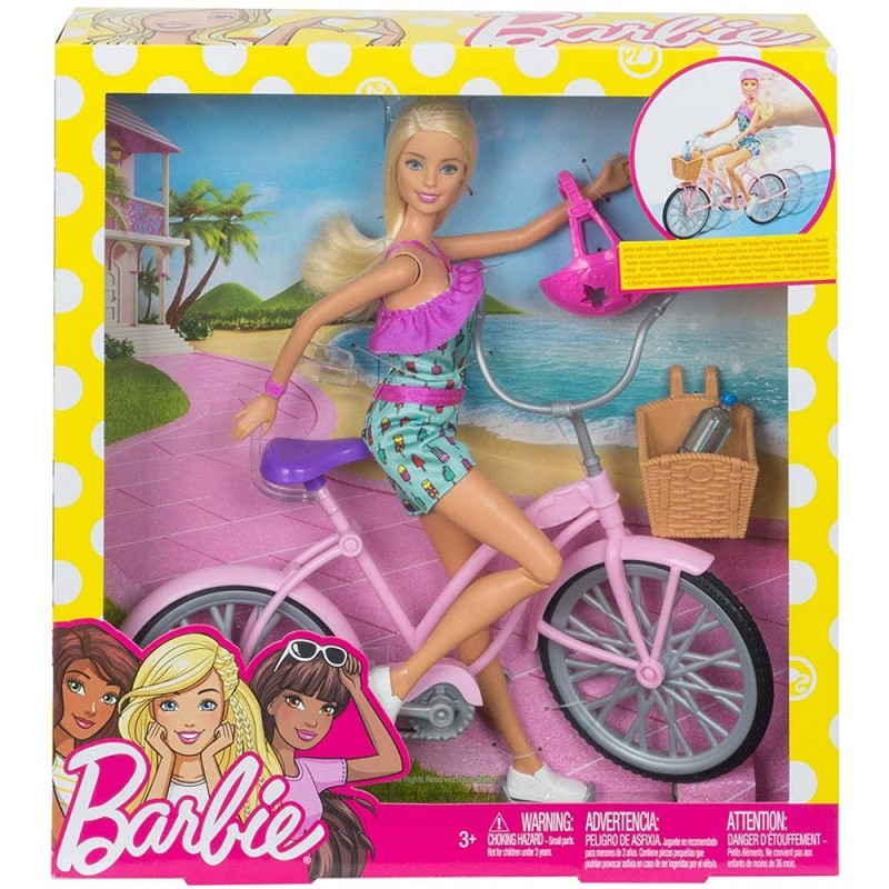 Papusa Barbie cu bicicleta si accesorii