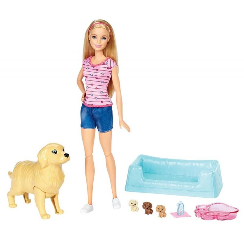 Papusa Barbie cu catelusa si catelusi noi nascuti