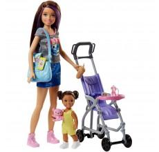 Papusa Barbie cu papusica, carucior si accesorii