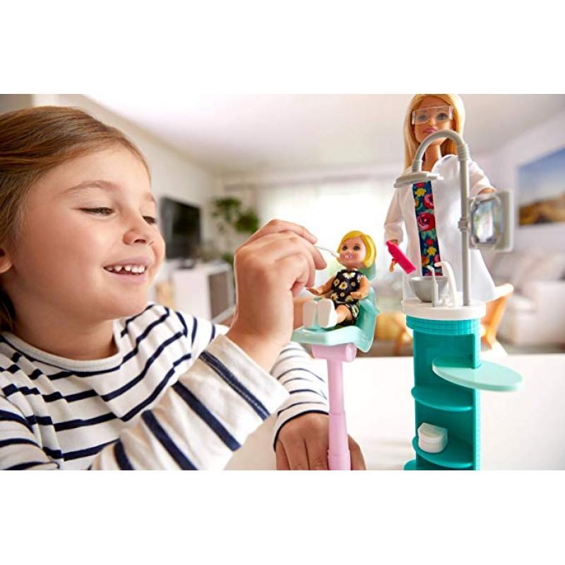 Papusa Barbie doctor stomatolog cu pacient si accesorii