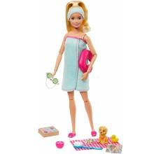 Papusa Barbie Made to move - O zi la SPA cu 8 accesorii si catel