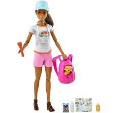 Papusa Barbie Made to move Welness cu accesorii si catel