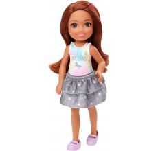 Papusa Barbie - Papusica Chelsea bruneta in tricou cu unicorn