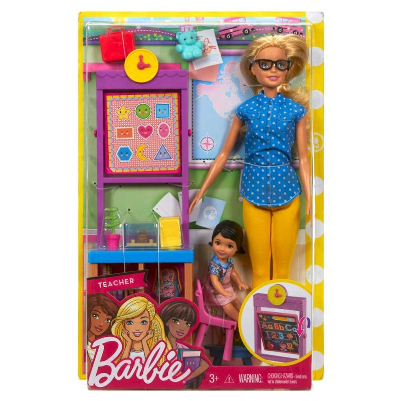 Papusa Barbie profesoara cu elev si sala de clasa