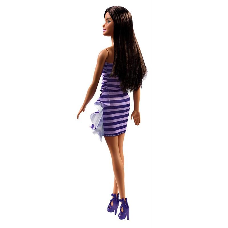 Papusa Barbie satena in rochita cu dungi