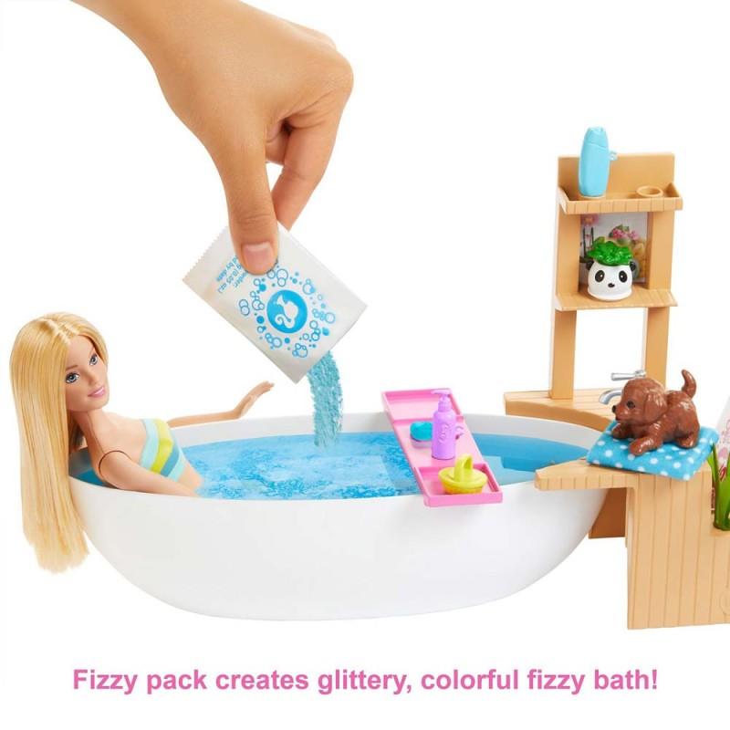 Papusa Barbie - Set de joaca baie cu spuma si diverse accesorii