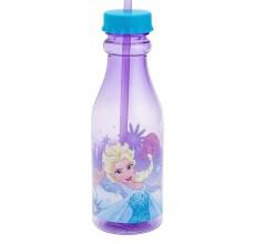 Sticla Frozen Disney cu capac si pai din plastic