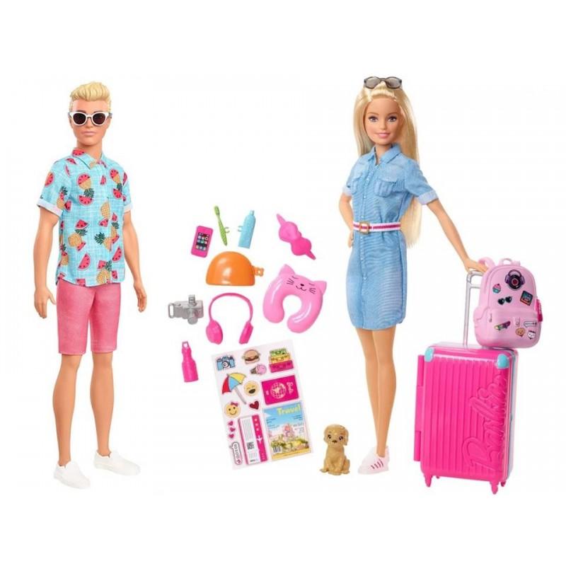 Papusa Barbie si Ken in vacanta cu accesorii pentru calatorie