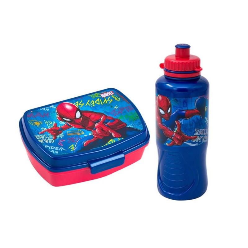 Set cutie pranz si recipient apa Spiderman