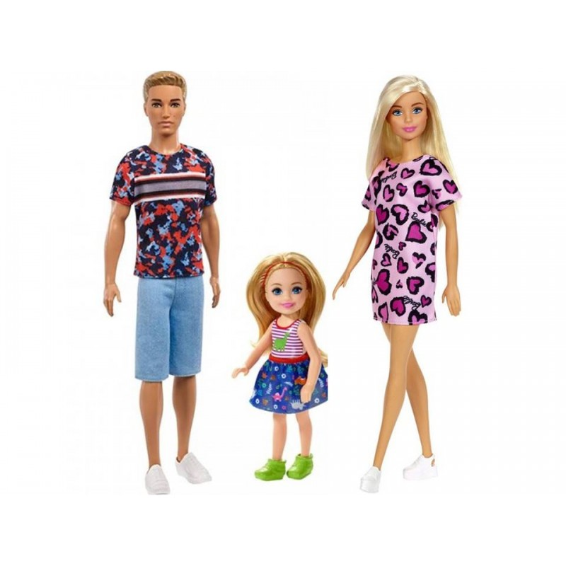 Set familia Barbie - Papusa Barbie + Ken + Chelsea
