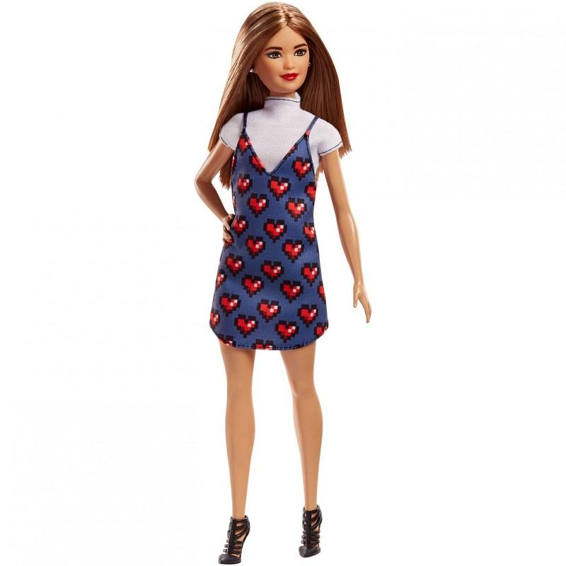 Papusa Barbie Fashionistas - in rochita cu inimioare